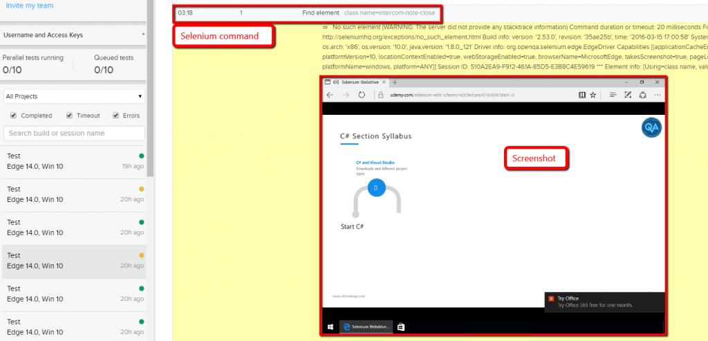 browser stack selenium step screenshot