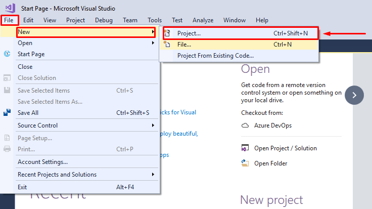 create new project from file menu in Visual Studio